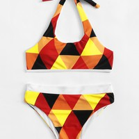Triangle Print Halter Bikini Set