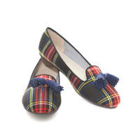 Scottish Plaid Tassel Smoking Slippers