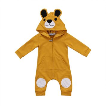 Autumn Winte Newborn Kids Baby Clothes Girl Boy 3D Ear Romper Long Sleeve Zipper Jumpsuit Playsuit Outfits 0-24M