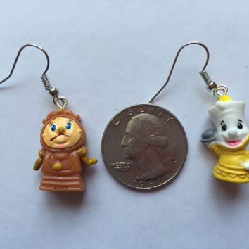 Squinkies Earrings -  Lumiere & Cogsworth - made from re-purposed toys