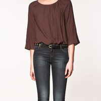 BLOUSE WITH PIN TUCK NECKLINE - Shirts - Woman - ZARA United States