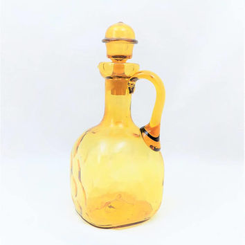 Blown Glass Decanter, Amber Decanter with Stopper, Decanter with Handle