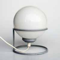 Vintage Globe Desk Lamp / Bubble Lamp / Sphere Lamp / White & Grey / 70's Atomic Lighting