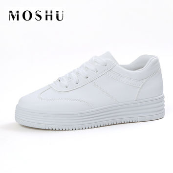 Fashion Platform Creepers Shoes Basket Summer Women Causal Shoes Flats Women White Leather Trainers Canvas Chaussure Femme