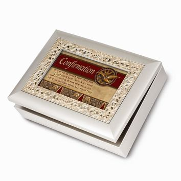 Ornate Champagne Silver Confirmation Musical Jewelry Box