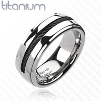8mm Chain Inlay Black IP Band Ring Solid Titanium Men's Ring