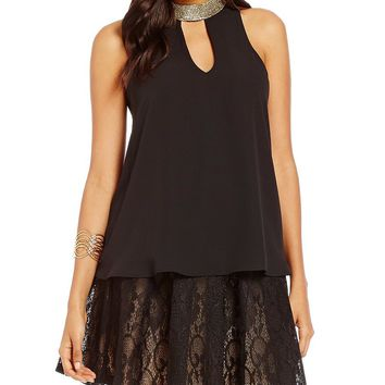Love On Tap High-Neck Keyhole-Front Double-Layer Tank Top | Dillards