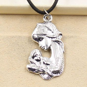 Silver Pendant mother baby Necklace