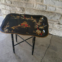 Vintage Black Japanese Pagoda Tray Table Supper Tray Table