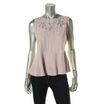 Rebecca Taylor Womens Silk Embroidered Blouse