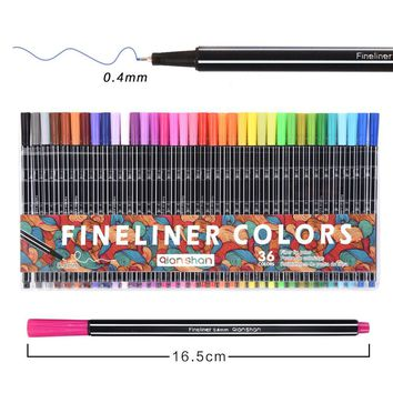 36PCS/Set Color 0.4 mm Fiber Marker Pen Fineliners Copic Markers Sketch Drawing Art Painting Professional Tip Fine Point Pen