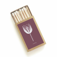 Tulip Botanical Matchbox - Floral Print Matches - Burgundy and Gold - Pair with a Candle - Wedding Matchbox Favors - Light a Flowery Spark