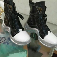 LV Louis Vuitton Fashion Women black leather Casual Shoes Sneaker Boots