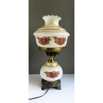 Vintage large hurricane lamp with painted red brown yellow flowers and brass base and hardware - Up and down hurricane lamp