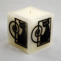 Gift for black cat lovers candle with inlay black and white animal #black_cat #blackand_white #candle #cat