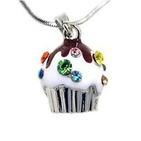 Cute Silver Cupcake Birthday Crystal Charm Necklace