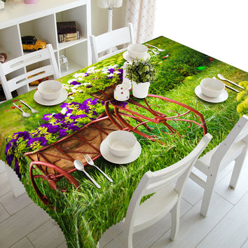 3D Tablecloths Bicycle Purple Flower Printing Waterproof/oil-proof Washable Thicken Rectangle Dining Table Tea Table Cloth-T025