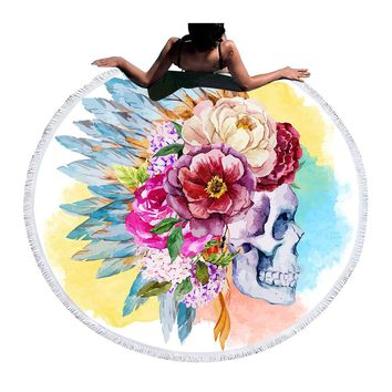 Colorful Skull Round Beach Towel Floral Tassel Tapestry