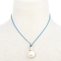 Swirled  Mother-of-Pearl Necklace, Blue, Other Necklaces