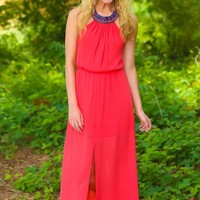 The One Who Stole His Heart Maxi Dress-Coral