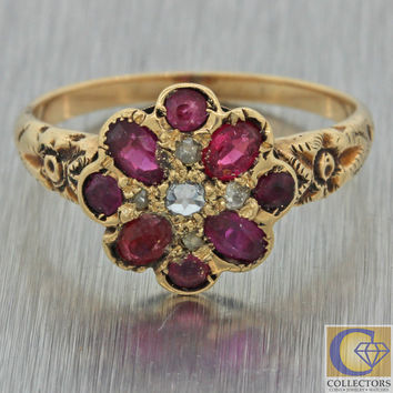 1880s Antique Victorian 14k Gold Rose Cut Diamond Red Garnet Cluster Ring