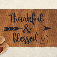 Thankful and Blessed - Thanksgiving Doormat – Outdoor Rug  – Welcome Mat - Home Decor, Seasonal Decor, Fall Decor, Festive Doormat