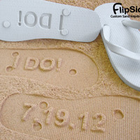 Custom Beach Wedding Flip Flops. Personalize With Your Sand Imprint Design.
