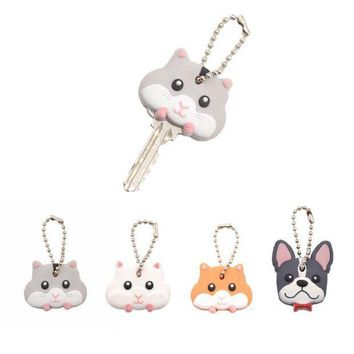 PEAPGC3 Lychee  Cute Mouse French Bulldog Shape PVC Key Cover Cap Key Chain Rubber Key Ring