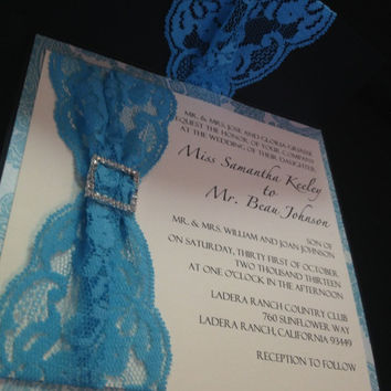 50 Wedding Black Linen with Blue Lace & by PaperDivaInvitations