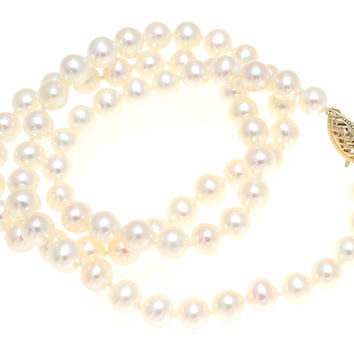 "5.8-6.4MM GENUINE FRESH WATER CULTURED PEARL NECKLACE STRAND 18"" 14K GOLD CLASP"