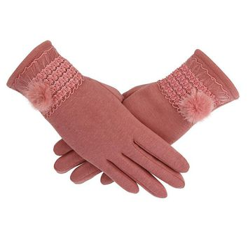 FEITONG Female Gloves Women Cashmere Keep Warm Driving Full Finger gloves Touch Screen Glove Winter Elegant High Quality gloves