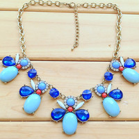 Petal Bib Necklace,Blue Rhinestone Necklace,Jeweled Bee Necklace,Cute Gift for Her