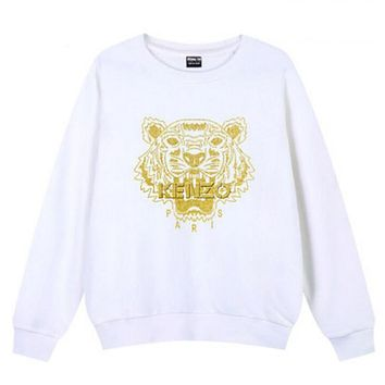 KENZO Fashion Women Men Embroidering Print Cotton Long Sleeve Sweater Top