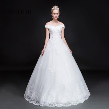 Sexy V Neck Tulle Appliques Cap Sleeves Long Wedding Dresses Beaded Lace UP Ball Gown Wedding Gowns