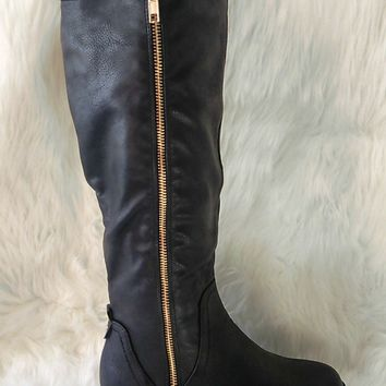 Women's Black Boots with Gold Zipper
