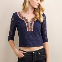 Crop Top W/ Embroidered Neckline