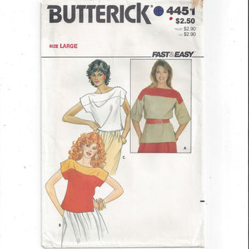 Butterick 4451 Pattern for Misses' Tops, Size Large, From 1980s, Fast & Easy, Vintage Pattern, Home Sewing Pattern, 1980s Fashion Sewing