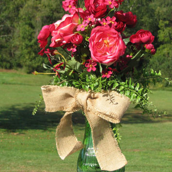 Valentines Day Centerpiece Deep Pink Romantic Floral Arrangement with Real Look Silk Roses and Ranunculus for Wedding or Home Decor