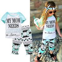 2pcs Girls Kids Short Sleeve Clothes Tracksuit Top+Pant Outfits Casual Suit Set