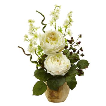 Artificial Flowers -Large White Rose And Dancing Daisy In Wooden Pot Arrangement