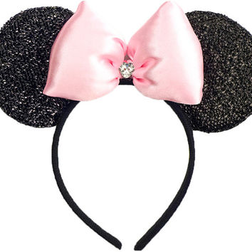 Minnie Mouse Ears Shimmer Sparkle Baby Pink Minnie Ears Sparkle Mickey Mouse Ears Minnie Mouse Bow Minnie Mouse Outfit Mickey Ears Headband