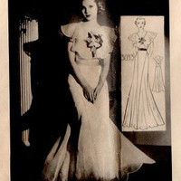 1930s Sewing Pattern Mail Order Hollywood Starlet Movie Glamour Formal Gown Ruffle Shawl Neckline Elegant Dress Bust 30