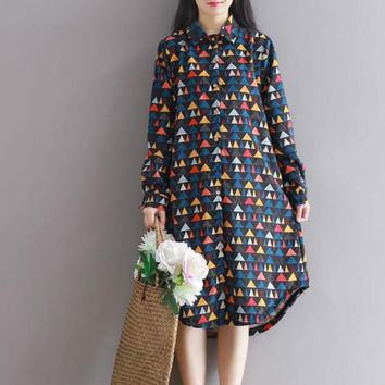 2016 Winter Printing Corduroy Cute Women Loose Dress Long Sleeve Turn-down Collar Knee-length Mori Girl Style Plus Size Vestidos