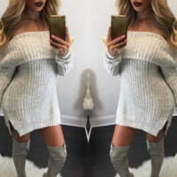 Autumn and winter new women 's word collar loose sweater dress