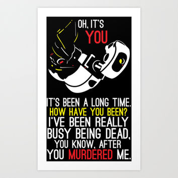 "Portal 2 GLaDOS Poster ""It's Been a Long Time..."" Art Print by Salzburn Designs Shop"
