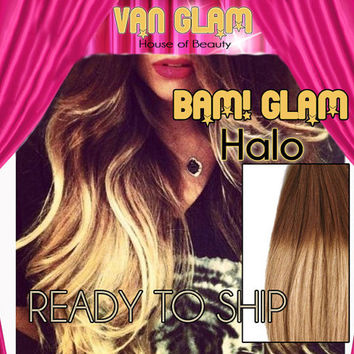 Ready To Ship // Medium Brown to Light Blonde Ombre // Wavy // BAM! Glam! // Halo Hair Extensions // 24""