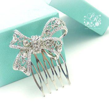 Wedding Hair Comb Rhinestone Bow style Bridal by PureRainDesigns