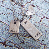 Hammered aluminum charm ball chain necklace, heart, year, infinity sign.