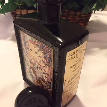 Vintage Black Bottle Americana Collection of Great Moments in History J.W. Dant's Ky Strait Bourbon Wisky 4/5 Quart