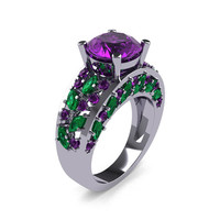Modern Italian 14K White Gold 3.0 Ct Amethyst Marquise Emerald Engagement Ring Wedding Ring R614-14KWGEAM